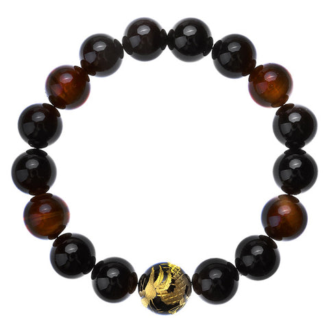 6.8inches/17cm Men's Elastic Black Agate Red Tiger's Eye Gem stone Dragon Carved Stone Bracelet - onlinejewelleryshopaus