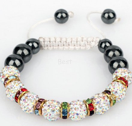 Min.$15 Mixed Order+Free Shipping+Gift.AB 10mm micro pave cz Disco ball Beads Spacer Crystal Shamballa Bracelet Men Jewelry. - onlinejewelleryshopaus