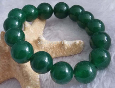 Wholesale 12mm Elegant Green Jade Round fashion Jasper Beads Bracelet 7.5''  W0263 - onlinejewelleryshopaus