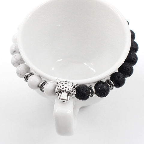 Fashion Black White Volcanic Grinding Stone Beaded Bracelet Jewelry Animal Leopard Head Strand Bracelets Wholesale - onlinejewelleryshopaus