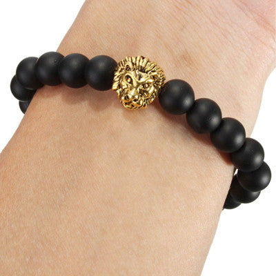 Antique Gold and Silver Plated Lion Head Bracelet Men Black Beads Charm Bracelets Jewelry Masculino Plusera - onlinejewelleryshopaus