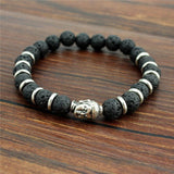 New Fashion High Quality 8mm Black Lava Stone Beaded Buddha Head Bracelet Bangles For Men Women Wholesale - onlinejewelleryshopaus
