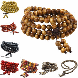 108 Natural Wood Beaded Tibet Buddhism Buddha Mala Prayer Beads 6mm Bracelet Necklace - onlinejewelleryshopaus