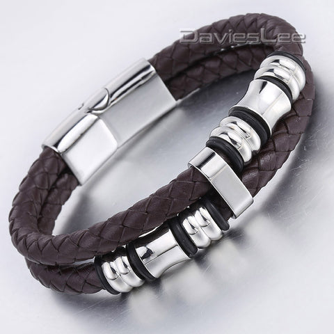 12mm Mens Black Brown 2 Stands Genuine Leather Bracelet Braided Rope Bead Charm Wristband Stainless Steel Magnetic Clasp LLB625 - onlinejewelleryshopaus