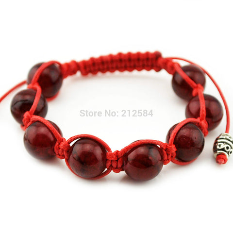 2015 Fashion Woman's Man's Strand Bracelet Hand-woven 12mm Red Natural Stone Round Beads Wrap Bracelet Free Shipping F3601 - onlinejewelleryshopaus