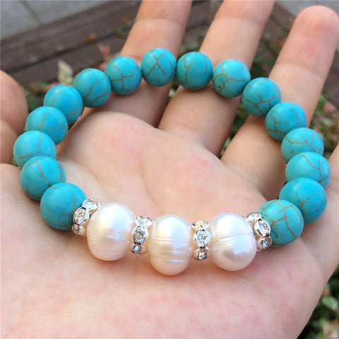 10MM Turquoise Beaded Strand Bracelets For Women Real Natural White Freshwater Pearl Beads Pulseras Mujer Native American 2016 - onlinejewelleryshopaus