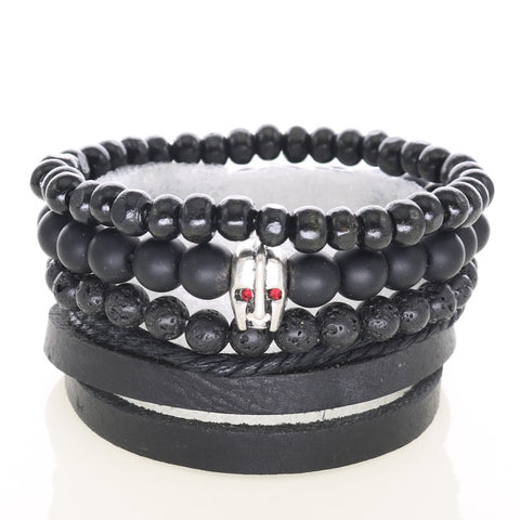 Soldier Mask Charm Bracelets Lava Matte Onyx Stones Wooden Beads Braided Leather Bangles For Men's Strand Bracelets 4pcs per set - onlinejewelleryshopaus