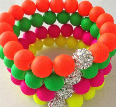 Best Lot!16 Piece/lot ,Each Color 4 Piece, Mix Neon Fluorescence Candy Color Beads Disco Ball Stretch Shamballa Bracelet - onlinejewelleryshopaus