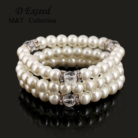 1PCS High Quality Simple Design Hand Polishing Simulated Pearl Strand Bracelet For Women Female Bangles Free Shipping - onlinejewelleryshopaus