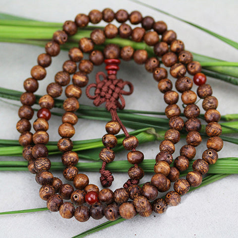 108*0.6 The Little Wooden Fish Chinese Knot Bodhi Seed Bracelet Fashion Luxury Buddhist Tibetan Natural Buddha Wrap Bracelets - onlinejewelleryshopaus