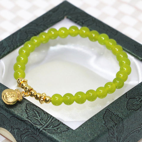 Factory price original design6mm natural stone olive green jade round beads women wrap strand bracelet diy jewelry 7.5inch B1964 - onlinejewelleryshopaus