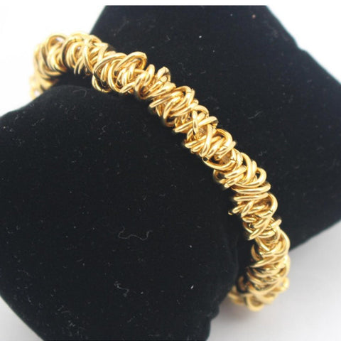 1PCS Free Shipping High Quality Elastic Gold Chain Strand Bracelet Women Girls 2015 Fashion Stainless Steel Jewelry - onlinejewelleryshopaus