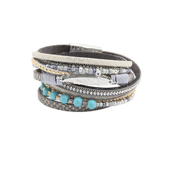 Bracelet Leather Bracelets & Bangles For Women Pulseira De Couro Long Crystal Set Natural Stone Beads Magnetic Pulseras Mujer - onlinejewelleryshopaus
