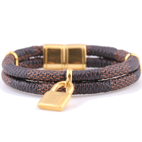 170mm Length Gold Plated Stainless Steel Magnet Leather Bracelets for women - onlinejewelleryshopaus