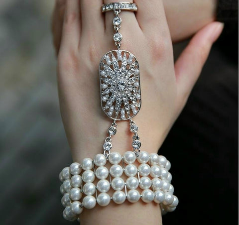 1 pc The Great Gatsby 1920s Bridal Pearl Stretch Bracelet Set Silver Gift Vintage StyleWLL9091 - onlinejewelleryshopaus
