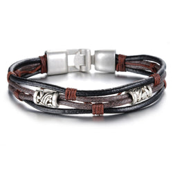 Fashion Multi-Layer Genuine Leather Man Bracelets Casual/Sporty Easy Alloy Hook Link Chain Men Jewelry Cheap Price PHK855 - onlinejewelleryshopaus