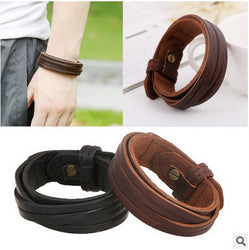 Novelty 24.5cm Adjustable braided Bracelets Genuine leather bracelet Women Mens wrap Bangle charm Multi wristband Jewelry - onlinejewelleryshopaus