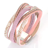 12pcs New Multilayer crystal wrap bracelet for women rhinestone bling luxury leather bracelet bangle pulseiras femininas 2016 - onlinejewelleryshopaus