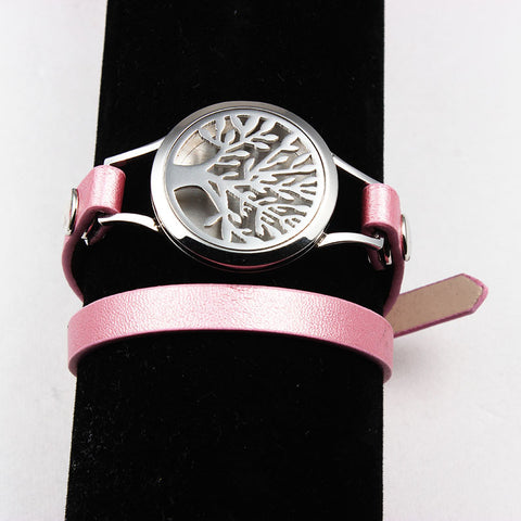 10Pcs Silver Tree Aromatherapy/Essential Oils Diffuser Locket Bracelet Stainless Steel Screw 30MM Locket Leather Bracelet - onlinejewelleryshopaus