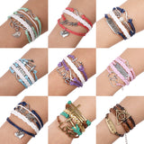 12Pcs/lot Free Shipping Vintage Anchor Infinity Charms Bracelet Multilayer Woven Leather Braided Bracelets - onlinejewelleryshopaus