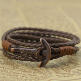 ER Punk Rock Hope Anchor Bracelet Wristband Wrap Charm Braclet For Male Accessories Hand Cuff Leather Braslet for Women LB197 - onlinejewelleryshopaus