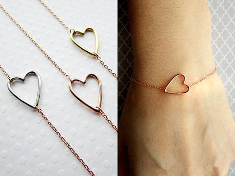 10PCS- B032 Fashion Tiny Line Hollow Out Open Heart Bracelets Simple Wire Wrapped Love Heart Bracelets for Lovers Couples - onlinejewelleryshopaus