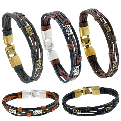 Vintage Cross Charm Leather Bracelet Retro Casual Braided Multilayer Black Brown Wrap Leather Bracelet Pulseras Jewelry For Men - onlinejewelleryshopaus