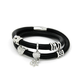 Black Double Endless Bracelets 40cm Wrap Leather with Magent Plus 6 Charms Bracelet for Women  EB069 - onlinejewelleryshopaus