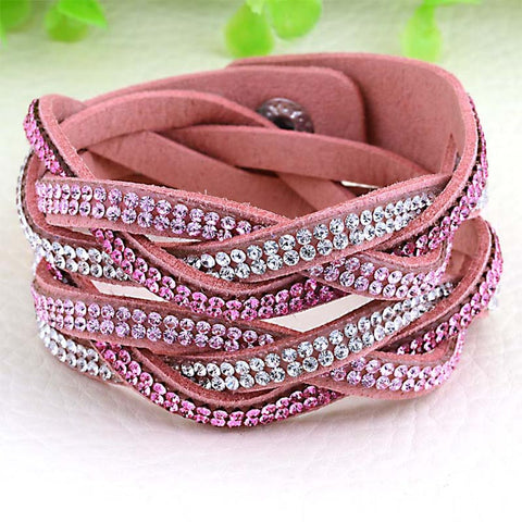12pcs Wholesale pulseras mujer double cross Bracelets for women handwork braide bracelets with full crystal bracelets & bangles - onlinejewelleryshopaus