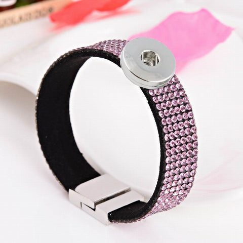 13Colors! 2PC 6Rows Crystal Suede Wrap Velvet Bracelet Women Magnetic Buckle 18mm Metal Snap Charm Bracelets Bangles For Men - onlinejewelleryshopaus