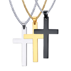 Necklace men's fashion cross necklaces pendant for men fine stainless steel jewelry 3 color black gold silver 1pcs No fade - onlinejewelleryshopaus