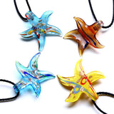 2015 murano glass necklace pendant Colourfull Fashion Handmade Italian Art Gold Starfish Beaded Lampwork Free shipping - onlinejewelleryshopaus
