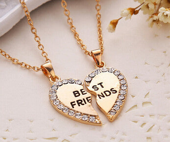 1pcs Free shipping Best friend necklace pendant  alloy crystal friendship half a person exquisite necklace with rhinestone - onlinejewelleryshopaus