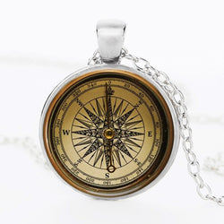 Steam compass Cabochon pendant art compass necklace jewelry glass dome bronze chain necklace pendant for women / men - onlinejewelleryshopaus