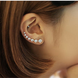 S925 pure silver single row rhinestone stud earring female brief elegant ear buckle crystal earrings anti-allergic accounterment - onlinejewelleryshopaus