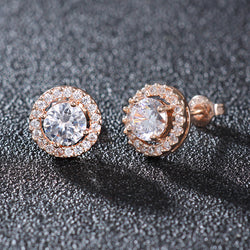 Rose Gold Stud Earrings For Wedding Inlay AAA+ Cubic Zirconia Earrings For Fashion Women Earings brincos brinco WE177 - onlinejewelleryshopaus