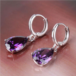1 Pair Purple Crystal Earring Female Water Drop Large Rhinestone Drop Earrings For Women Dangle Earings Fashion Jewelry Brincos - onlinejewelleryshopaus