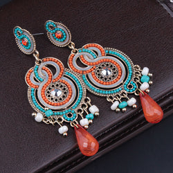 Handmade beads long Bohemian earrings Vintage Crystal drop earrings for women - onlinejewelleryshopaus