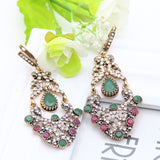 2016 Fashion Turkish Earrings Antique Gold Plating Swinging Pendant Earrings Princess Hook Luxury Women Jewelry Festival Gift - onlinejewelleryshopaus