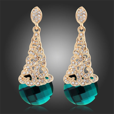 New 2016  Gold Plated Pave Crystal Filigree with Faceted Green Crystals Dangle Earrings Vintage Luxury Jewelry For Women - onlinejewelleryshopaus