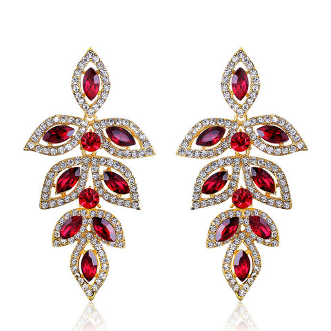 Fashion Brand Alloy Gold Plated Statement Austria Red Crystal Long Dangle Earrings Rhinestone Drop Elegant Earring Jewelry - onlinejewelleryshopaus