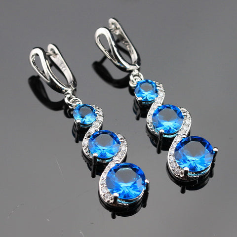 Christmas Gift Blue Created Sapphire White CZ Silver Color Jewelry Women Long Drop Earring Free Gift Box Made in China - onlinejewelleryshopaus