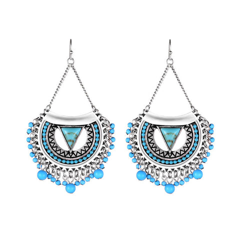 Fashion Silver Wedding Party Jewelry Vintage Ethnic Chandelier Earrings Long Turquoise Resin Bead Big Earrings for Women - onlinejewelleryshopaus