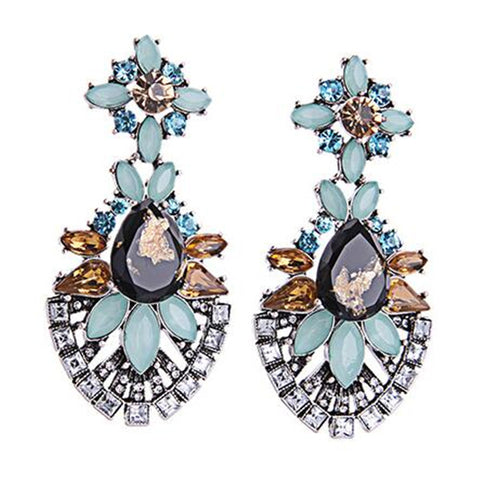 Trendy New Arrival Vintage Luxury Crystal Water Drop Gem Flowers Earrings For Women Fashion Charm Design Party Jewelry - onlinejewelleryshopaus