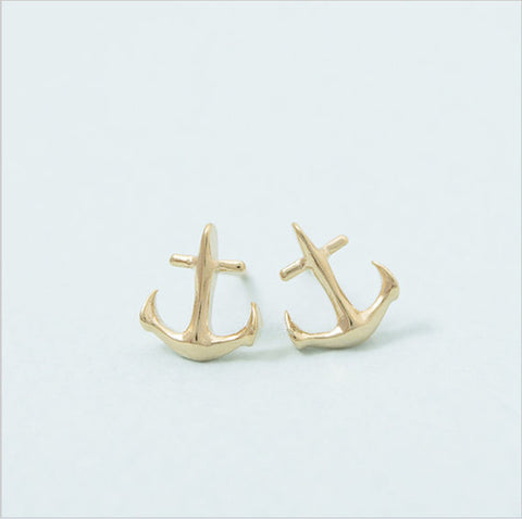 Fashion anchor earrings Sailors love stud earrings for women wholesale free shipping - onlinejewelleryshopaus