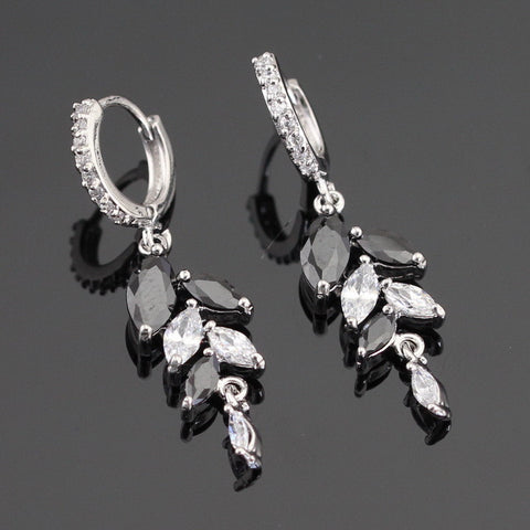 Marquise Cut Black Created Sapphire White CZ Silver Color Drop Earring Jewelry For Women Free Gift Box - onlinejewelleryshopaus