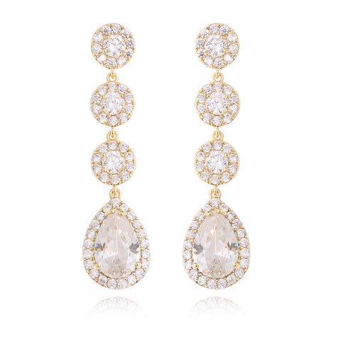 Wholesale Classics Wedding Long Earrings For Women Round Tear Zirconia Earings Fashion Jewelry For Bridal Gold Earring WE194 - onlinejewelleryshopaus