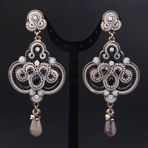 Vintage Luxury Brand Colorful Crystal beads Long Dangle Earrings European Fashion Big Wedding Party Earrings - onlinejewelleryshopaus