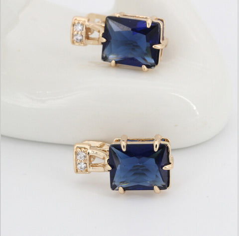 1pair hyperbole Earring Gold Color Women boucle d'oreille Dark Blue Zircon  Long Earring Wedding Square Drop Earrings for Girls - onlinejewelleryshopaus