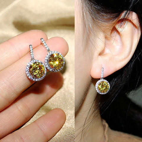 Sparkling Fashion Round CZ diamond Drop Earrings Red Pink Yellow Green Sapphire Blue Stone Dangle Earrings For Women Jewelry - onlinejewelleryshopaus